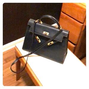 Handbags - Italian Leather Kelly Bag in Navy (see description